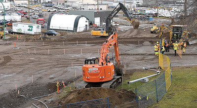 Work contines at the intersection of Queensway and Patricia Boulevard. Patricia Boulevard was closed from the intersection with Queensway to the entrance of City Hall, in late September, to allow for the installation of a new sewer system along Lower Patricia to London Street. The operation will replace ageing infrastructure and provide increased capacity for the City's growing downtown. Citizen photo by Brent Braaten