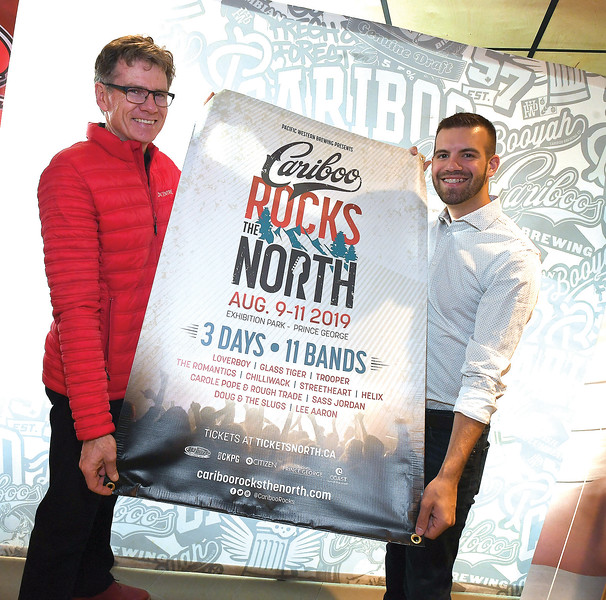 Glen Mikkelsen, left, and Kyle Sampson from Cariboo Rocks the North announced their stellar line‐up for the second annual installation of the popular classic rock music festival. The festival will feature 11 bands over three days and is set to take place at Exhibition Park in Prince George August 9th – 11th 2019.With a combined 27 Platinum Records, 17 Gold Records, and 18 Juno Awards, this year's festival will feature; Loverboy, Trooper, Glass Tiger, The Romantics, Chilliwack, Sass Jordan, Streetheart, Carole Pope & Rough Trade, Doug & The Slugs, Helix and Lee Aaron.Citizen photo by Brent Braaten