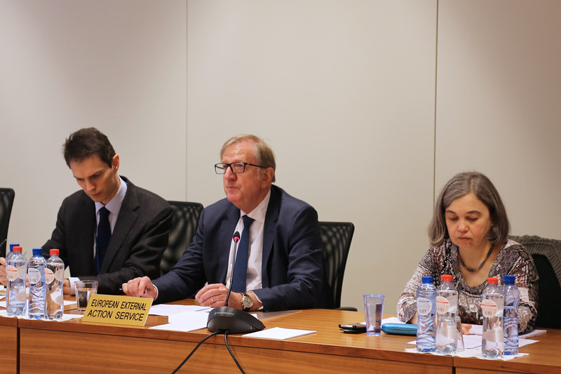 Centred: Claude Maerten, Head of Division, European External Action Service (EU Chair)