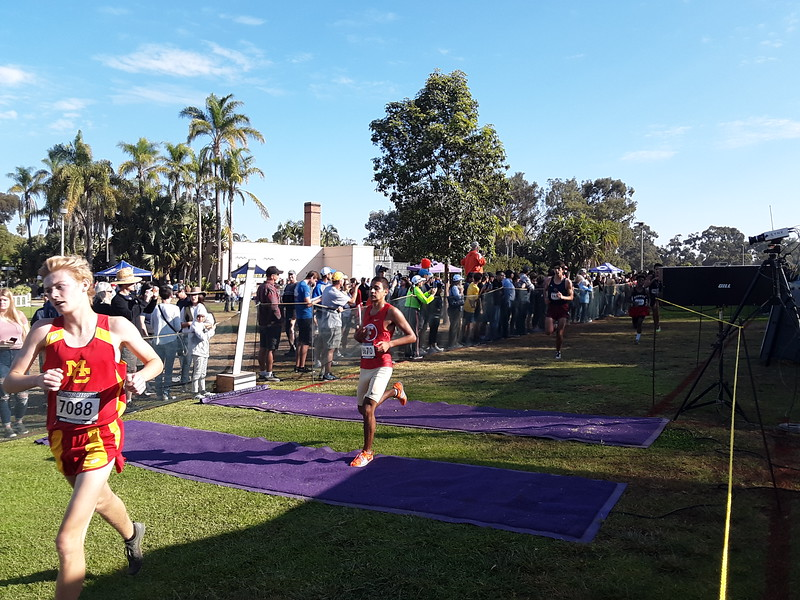 Josh Hernandez is the first Fallbrook High runner to cross the finish line at the championship meet. Rosa Contreras photos
