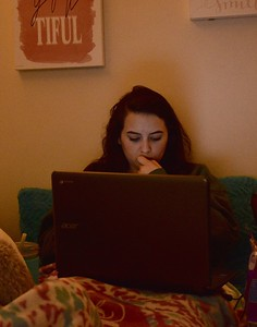 Molly Burdette, Senior, studies in her room before fall break.