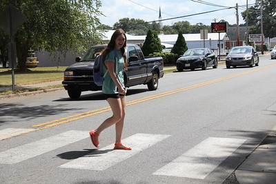 Student crossing the road