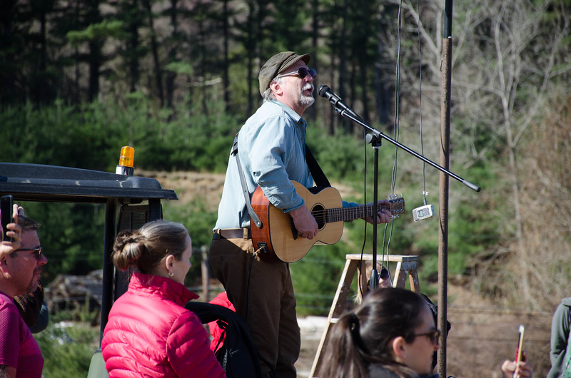 "The Loop's official starter this year was Ward Pound Ridge Reservation Park Superintendant Jeff Main. Jeff composed an original Leatherman song before the 2012 Loop and has performed it in limited engagements before the 2018 Loop. He sang all three verses and sent the runners off with ""and now it's time to RUN"" at the end of the song. (photo by Rob Cummings)"