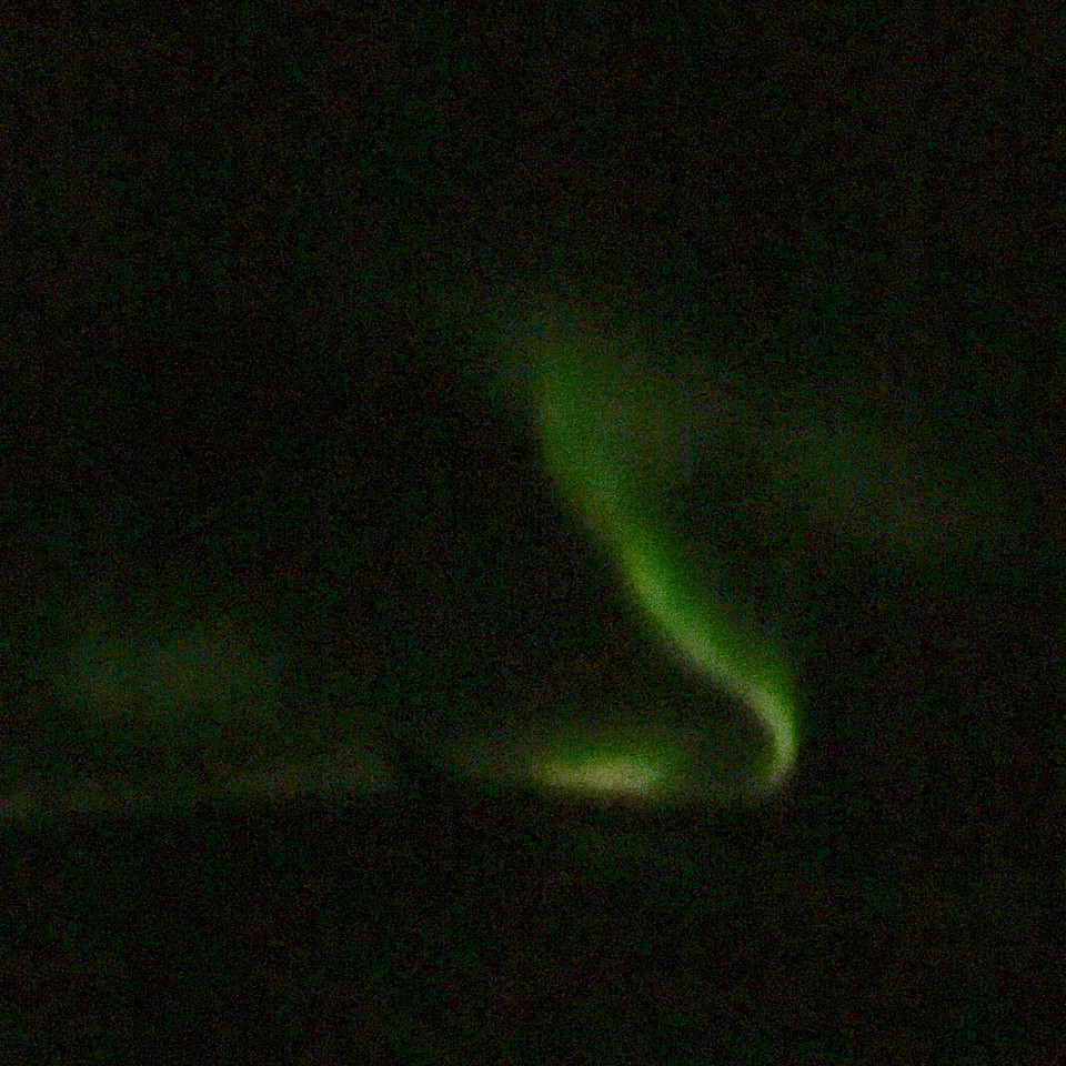 Aurora Borealis from the airplane - Somewhere over the Davis Straight, between Labrador and Greenland