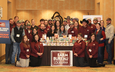 On January 13, 2018, the Louisiana Farm Bureau Federation Young Farmers and & Ranchers members collected food items and monetary donations for the American Farm Bureau Federation America's Young Farmers & Ranchers Harvest for All Project with Louisiana Food Bank Association.