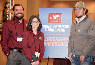 On January 13, 2018, Louisiana Farm Bureau Young Farmers and Ranchers District II directors Josh and Holly Moore, left and Ryan Wilkerson, right, of Richland Parish attended the Louisiana Farm Bureau Young Farmer & Ranchers Leadership Conference in Bossier City.