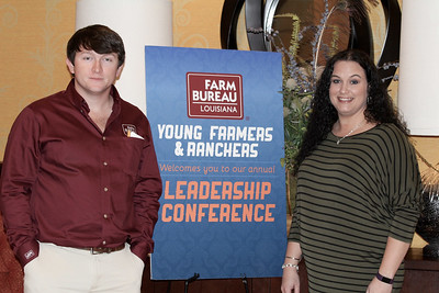 On January 13, 2018, Louisiana Farm Bureau Young Farmers and Ranchers District III director Kody Beavers, left, and Louisiana Farm Bureau Young Farmers and Ranchers Franklin Parish chair Christy Ingram, right, of Franklin Parish attended the Louisiana Farm Bureau Young Farmer & Ranchers Leadership Conference in Bossier City.