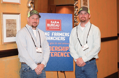 On January 13, 2018, Josh Gooden, left, and James McBride, right, of DeSoto Parish attended the Louisiana Farm Bureau Young Farmer & Ranchers Leadership Conference in Bossier City.