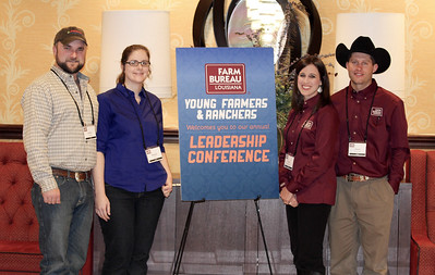 On January 13, 2018, Louisiana Farm Bureau Young Farmers and Ranchers District I directors Adam and Megan Caughern, left, and Kari and Jacob Rumbaugh, right of Caddo Parish attended the Louisiana Farm Bureau Young Farmer & Ranchers Leadership Conference in Bossier City.