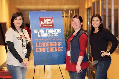 On January 13, 2018, Louisiana Farm Bureau Young Farmers and Ranchers Sabine Parish chair Megan Cook, far left, Rachel Scaife, middle, and Amber Leach, far right, of Sabine Parish attended the Louisiana Farm Bureau Young Farmer & Ranchers Leadership Conference in Bossier City.