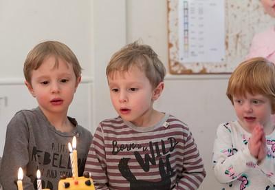 Sebastian, Orlando and Wren with the Cake - Boy's 4th Birthday Party