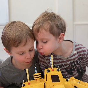 Sebastian (left) and Orlando (right) Blowing Out Candles\