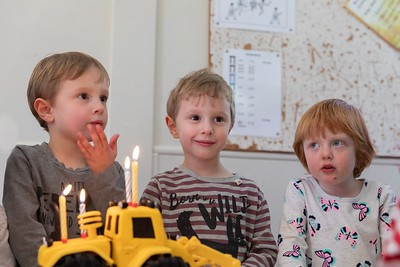 Sebastian, Orlando and Wren with the Cake - Boy's 4th Birthday Party