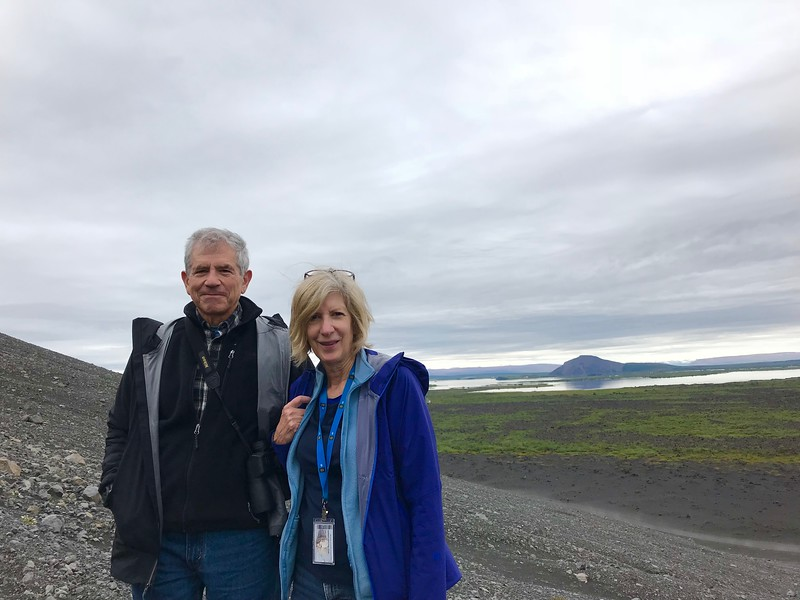 Peter and Debbie at Hverfjall crater - Kim Frawley