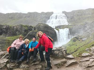 Julia, Judy, Candace and Ann hike up Dynjandi Waterfall