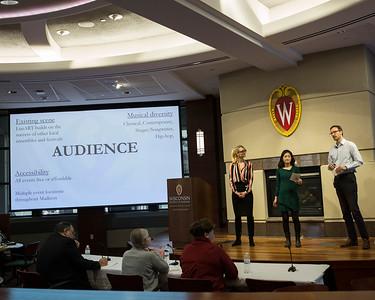 Ivana Ugrcic, Satoko Hayami, Kyle D. Johnson (l-r) present on behalf of finalist project LunART Festival