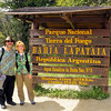 William and Anne at the start of the Pan-American Highway in Parque Nacional Tierra del Fuego