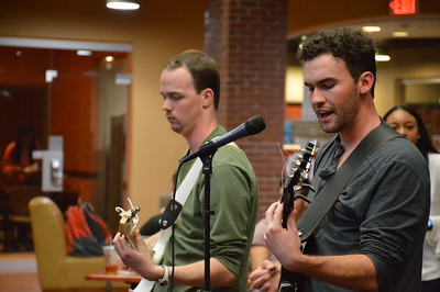 James Ford IV and Ben Esposito perform at the Open Mic Night in Tucker Student Center.