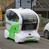 One of the new UK Autodrive driverless pods on test in Central Miltion Keynes, 03.04.2018.