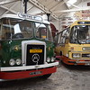 Preserved Yelloway AEC Reliance Duple Dominant NNC855P with Atkinson Borderer truck YTC556L in the Bury Transport Museum, 18.11.17.