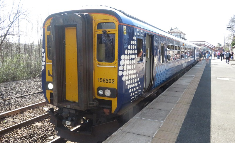 ScotRail Class 156 Super Sprinter no. 156502 at Haltwhistle on a Newcastle service, 21.04.2018.