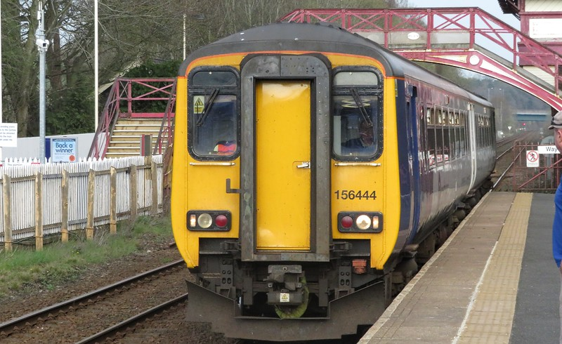 Northern new livery Class 156 Super Sprinter no. 156444 arriving at Haltwhistle on a Whitehaven service, 21.04.2018.