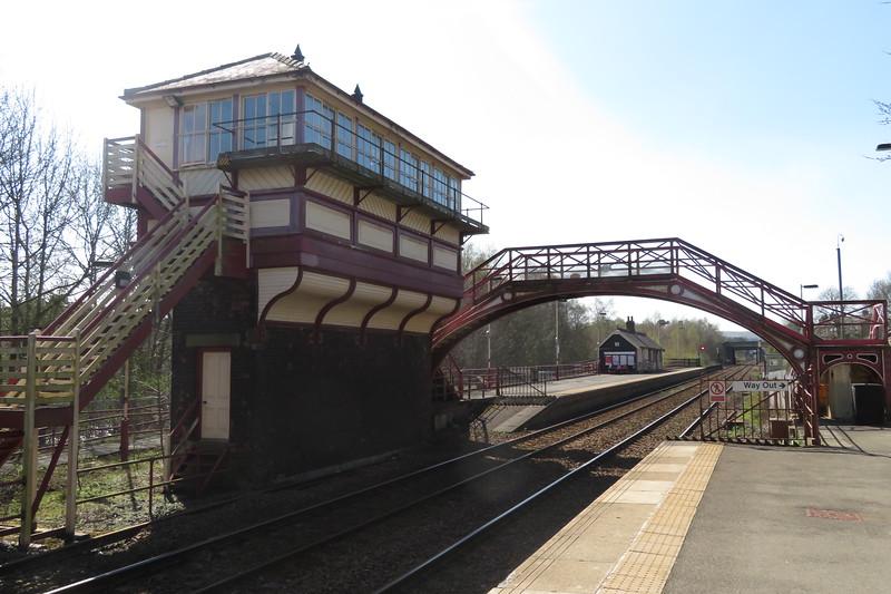 The impressive Haltwhistle signal box and footbridge, 21.04.2018.