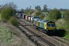 18 April 2018 :: Moving out of the loop at Elford is 66420 + 66556 on 4O95 from Leeds to Southampton