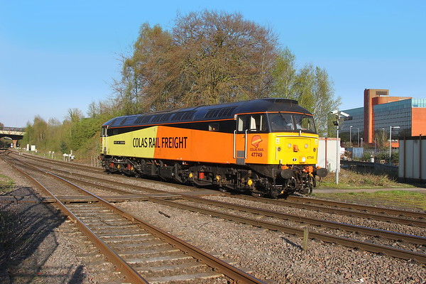 47749 Basingstoke 19/04/18 0Z48 Leicester to Eastleigh (the loco is expected to work a Pathfinders tour from Newport to Scarborough on the 21st before returning to Eastleigh to be repainted into Caledonian Sleeper livery)