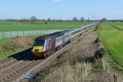 18 April 2018 :: Cross Country HST with 43207 is at Elford leading train 1S51, the 1225 from Plymouth to Glasgow Central