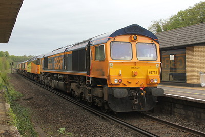 66778 Micheldever 24/04/18 on the rear of 0E08 Eastleigh to Peterborough with 66786, 66777, 66723 and 47749
