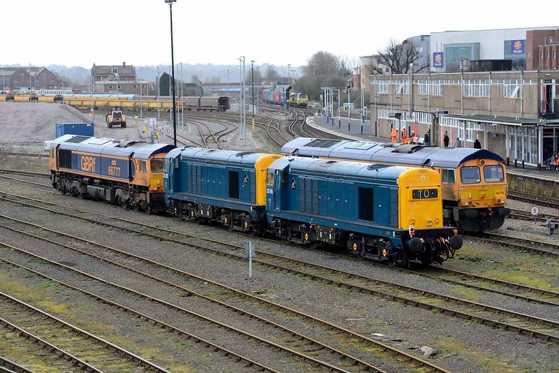 3 April 2018 :: 20205 & 20189 are parked up at Eastleigh in readiness for rail tour duties next weekend