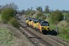 18 April 2018 :: Colas light engine movement 0C20 from Toton to Bescot featured 70811 + 70810 + 70808 and is seen at Elford