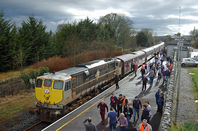 The second reversal of the day had offered a further oportunity for a loco swap, and with no. 086 now in charge the tour is pictured during a late afternoon photo stop at Cloughjordan on the secondary route between Limerick and Ballybrophy via Nenagh (07/04/2018)