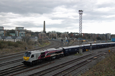 With the Wellington Monument in Phoenix Park dominating the horizon, NIR's 'Enterprise' liveried no. 209 seems an unusual choice of loco to be shunting the Belmond 'Grand Hibernian' train through the was road at Dublin Heuston (09/04/2018)