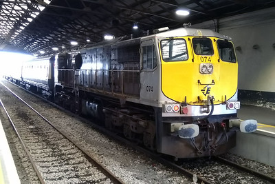 With its work for the day complete, 074 is pictured inside the train shed at Limerick after arriving with H400 1215 from Waterford (07/04/2018)