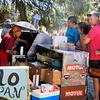 Street Vendor selling hamburgers, pollo, etc  - always a long line