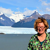 Anne at the windy Perito Moreno Glacier