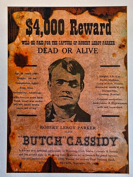 Butch Cassidy Wanted Poster at Parador La Leóna