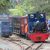 """Hunslet 2' gauge 0-4-0 diesel loco no. 81 """"Peter Wood"""" and Andrew Barclay 0-6-0 steam loco no. 4 'Doll' at Stonehenge Works on the Leighton Buzzard Railway, 01.08.2018."""