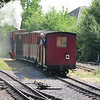 Andrew Barclay 0-6-0 steam loco no. 4 'Doll' shunts its train out of Pages Park depot on the Leighton Buzzard Railway, 01.08.2018.