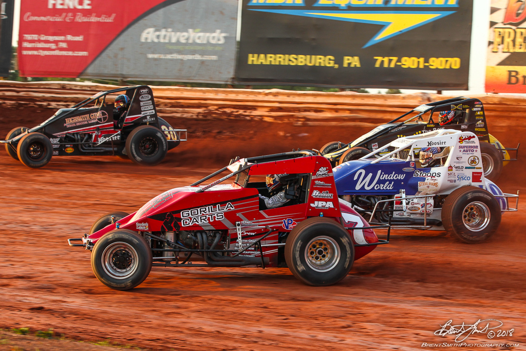 Capital Renegade Showdown - USAC National Sprint Car Championship - BAPS Motor Speedway - 30 CJ Leary, 7 Tim Buckwalter, 18 Jarett Andretti, 4 Justin Grant
