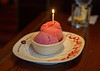 Congratulations sorbet with candle