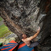 Todd pulls through a new V7-ish problem above Archangel Valley.