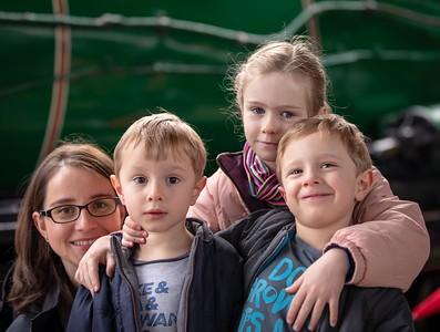 Margaret, Orlando, Scarlett & Sebastian with Steam Engine 3642 - Boys 4th Birthday (Central Station)