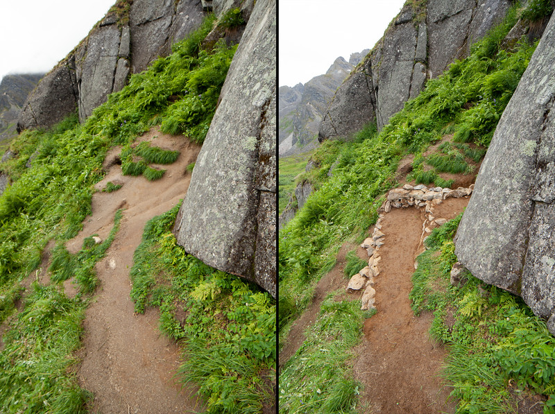Before and after of this project's efforts at the base of <i>The Slot 5.7</i>. Tiers were added to eliminate sloping mud that prevented comfortable seating and pack stowage, which was causing climbers to expand out into the surrounding bushes. Now the starting area for Zig-Zag and Center Slab Left has a flat platform, the next tier down is flat as well, and there is a water runoff channel to help direct erosion away from traffic areas. The grass and plants removed from the base area were moved to one of the sloping muddy areas that shouldn't see traffic anymore.