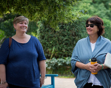 The Creative Placemaking Summer Institute participants learn about public programming at the Allen Centennial Gardens.