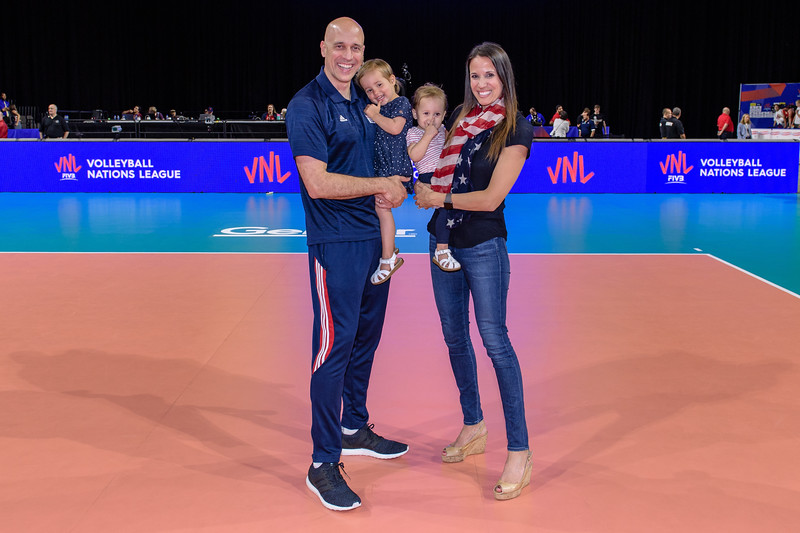 USA and Poland during a Volleyball Nations League match at the Sears Centre Arena in Hoffman Estates, Illinois on June 16, 2018.