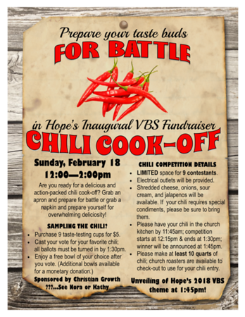 Chili Cook-Off VBS Fudraiser 2018