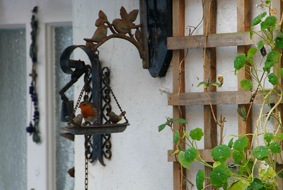 A robin using a bird feeder outside one of the houses.